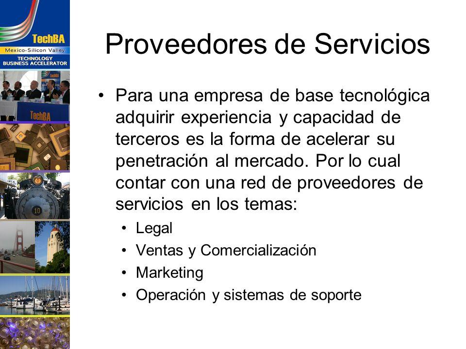 Proveedores de Servicios Para una empresa de base tecnológica adquirir experiencia y capacidad de terceros es la forma de acelerar su penetración al m