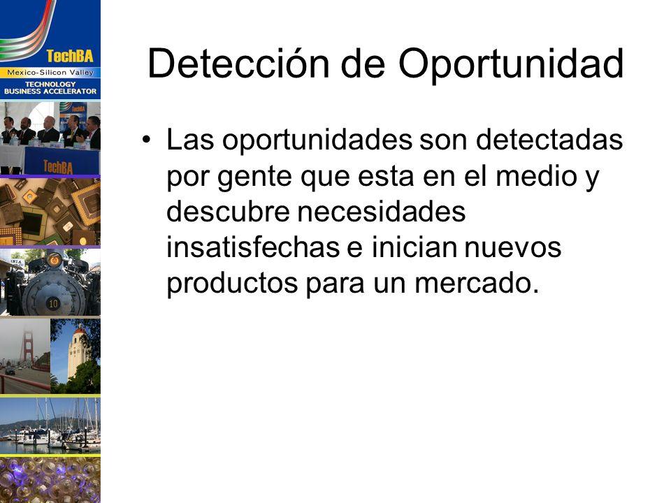 Detección de Oportunidad Las oportunidades son detectadas por gente que esta en el medio y descubre necesidades insatisfechas e inician nuevos product