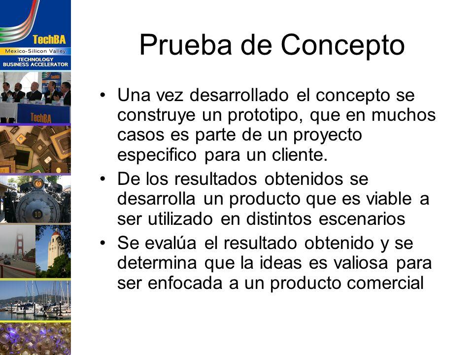Prueba de Concepto Una vez desarrollado el concepto se construye un prototipo, que en muchos casos es parte de un proyecto especifico para un cliente.
