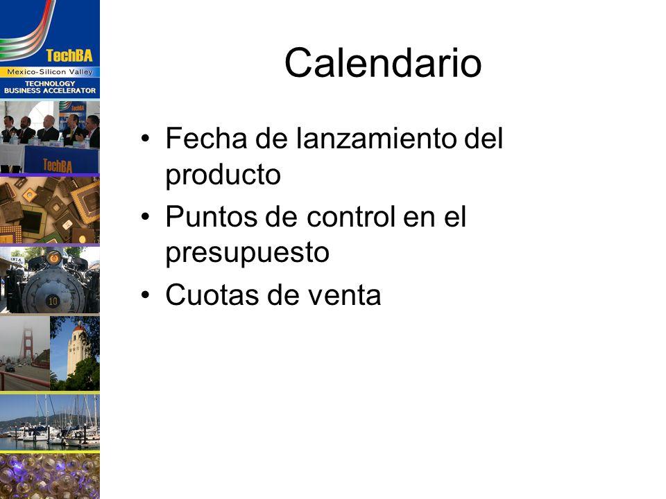Calendario Fecha de lanzamiento del producto Puntos de control en el presupuesto Cuotas de venta