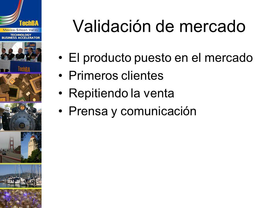 Validación de mercado El producto puesto en el mercado Primeros clientes Repitiendo la venta Prensa y comunicación