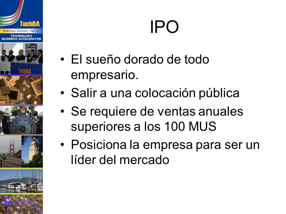 IPO El sueño dorado de todo empresario. Salir a una colocación pública Se requiere de ventas anuales superiores a los 100 MUS Posiciona la empresa par