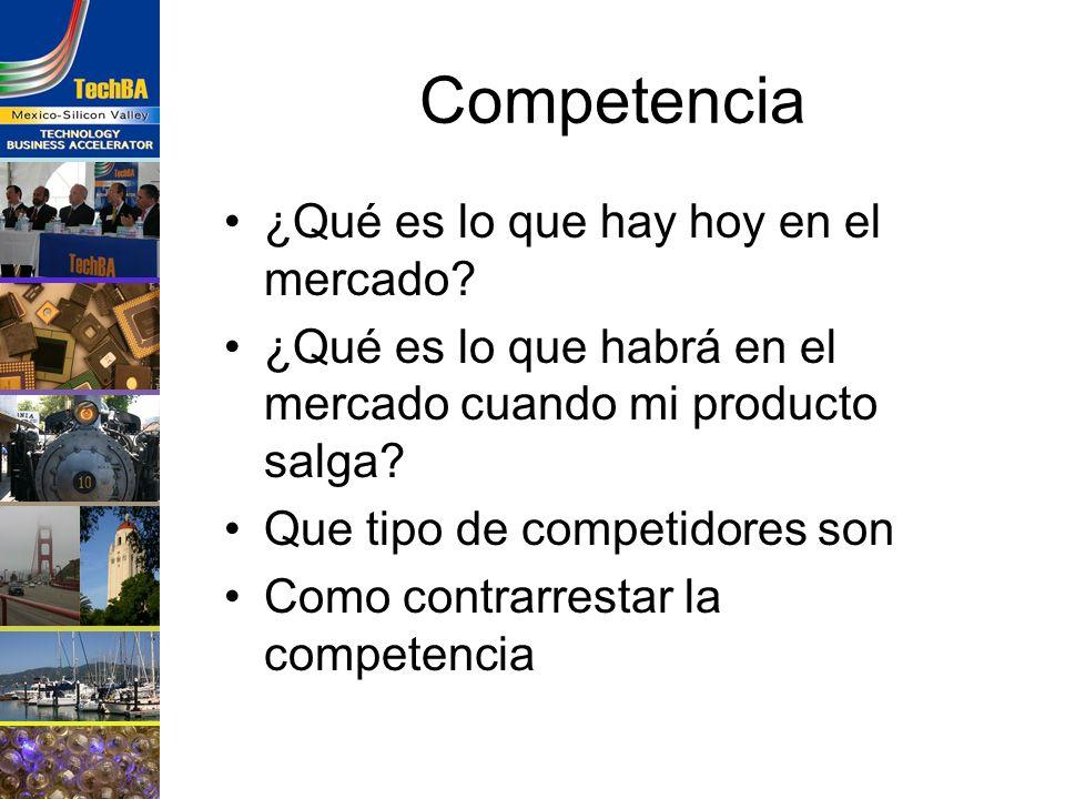 Competencia ¿Qué es lo que hay hoy en el mercado? ¿Qué es lo que habrá en el mercado cuando mi producto salga? Que tipo de competidores son Como contr
