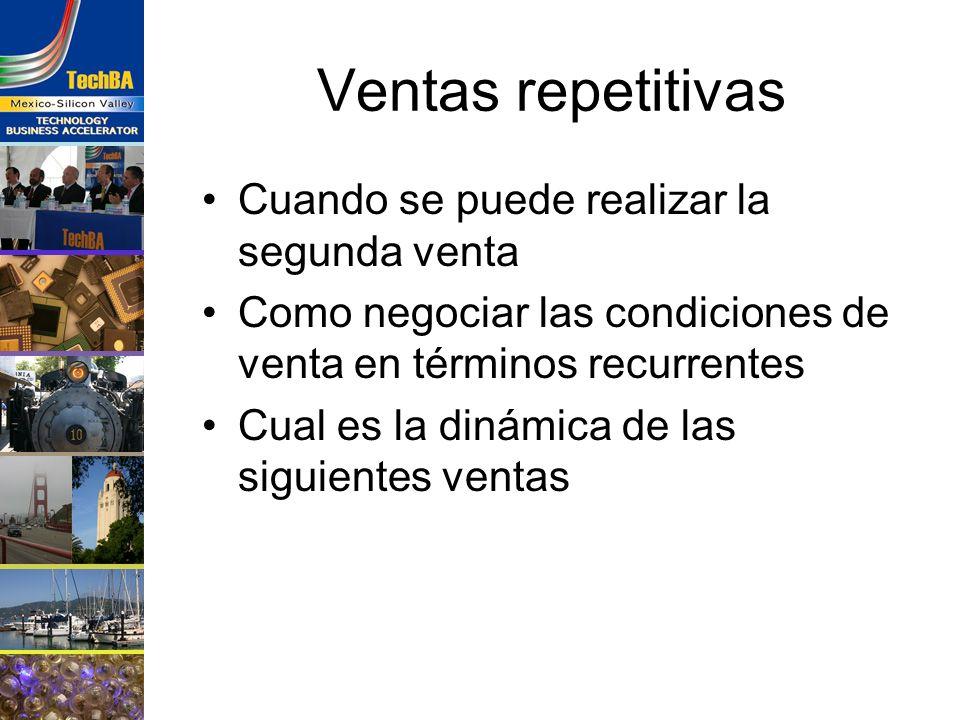 Ventas repetitivas Cuando se puede realizar la segunda venta Como negociar las condiciones de venta en términos recurrentes Cual es la dinámica de las