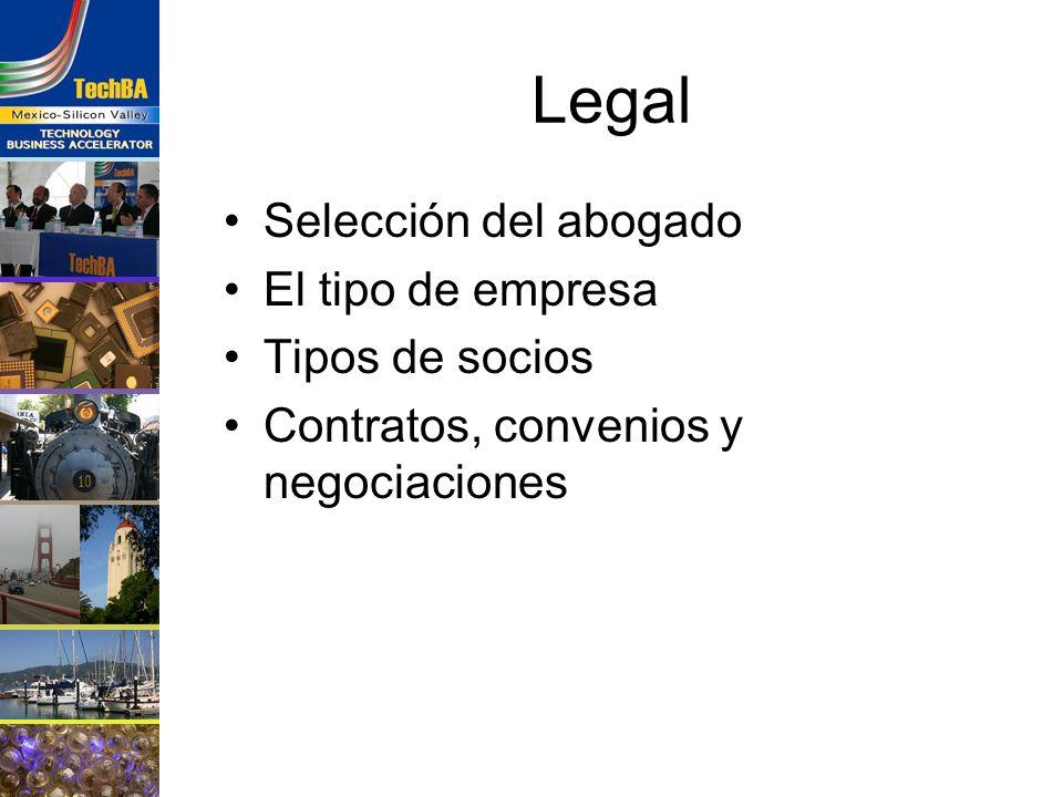Legal Selección del abogado El tipo de empresa Tipos de socios Contratos, convenios y negociaciones