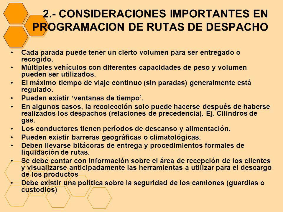 2.- CONSIDERACIONES IMPORTANTES EN PROGRAMACION DE RUTAS DE DESPACHO Cada parada puede tener un cierto volumen para ser entregado o recogido. Múltiple