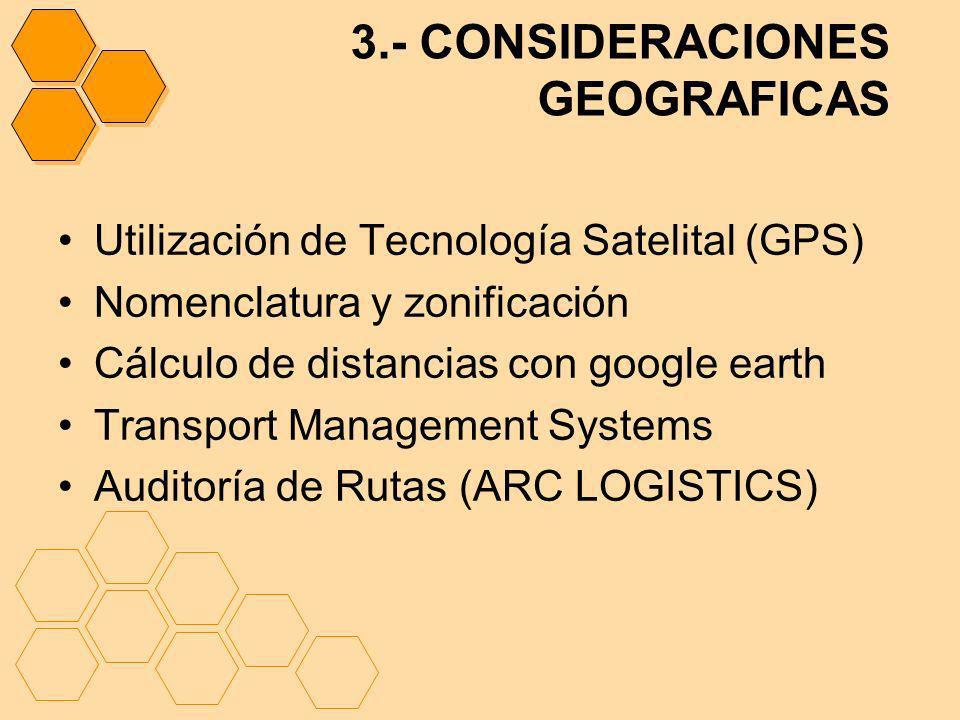 3.- CONSIDERACIONES GEOGRAFICAS Utilización de Tecnología Satelital (GPS) Nomenclatura y zonificación Cálculo de distancias con google earth Transport