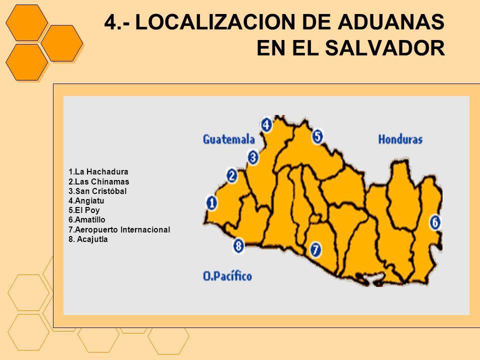 4.- LOCALIZACION DE ADUANAS EN EL SALVADOR 1.La Hachadura 2.Las Chinamas 3.San Cristóbal 4.Angiatu 5.El Poy 6.Amatillo 7.Aeropuerto Internacional 8. A