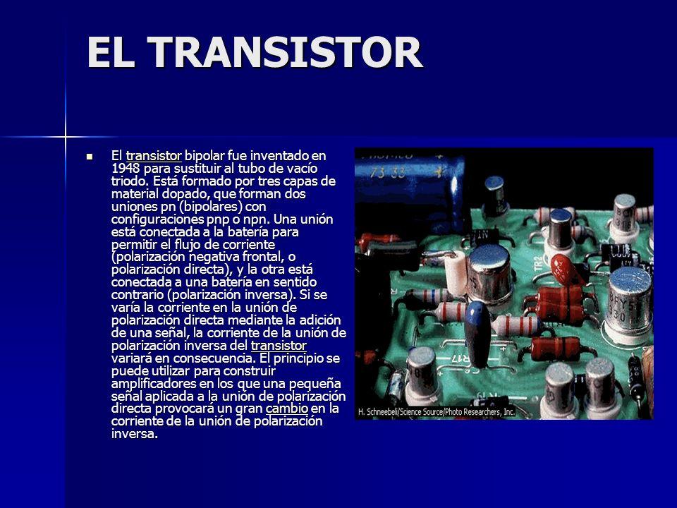 EL TRANSISTOR El transistor bipolar fue inventado en 1948 para sustituir al tubo de vacío triodo. Está formado por tres capas de material dopado, que
