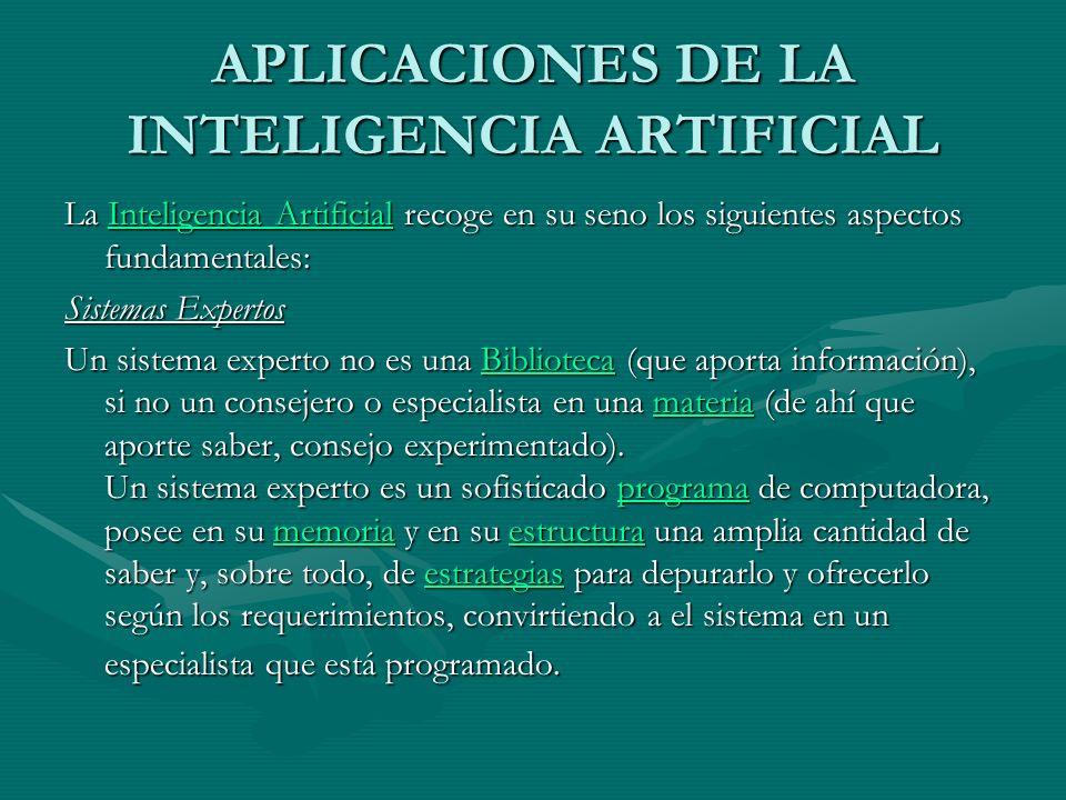APLICACIONES DE LA INTELIGENCIA ARTIFICIAL La Inteligencia Artificial recoge en su seno los siguientes aspectos fundamentales: Inteligencia Artificial