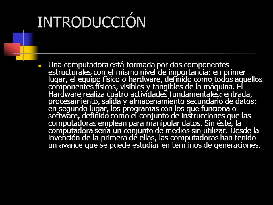 INTRODUCCIÓN Una computadora está formada por dos componentes estructurales con el mismo nivel de importancia: en primer lugar, el equipo físico o har