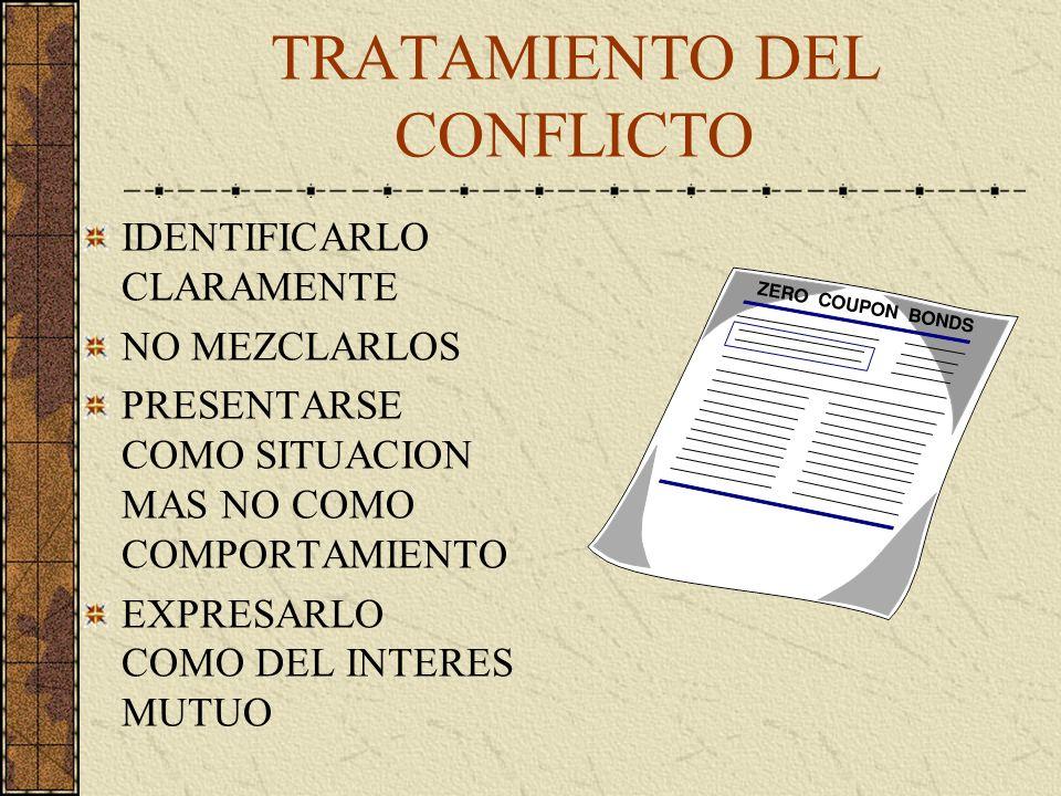 TRATAMIENTO DEL CONFLICTO IDENTIFICARLO CLARAMENTE NO MEZCLARLOS PRESENTARSE COMO SITUACION MAS NO COMO COMPORTAMIENTO EXPRESARLO COMO DEL INTERES MUTUO