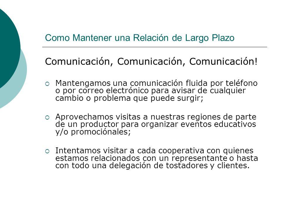 Como Mantener una Relación de Largo Plazo Comunicación, Comunicación, Comunicación! Mantengamos una comunicación fluida por teléfono o por correo elec