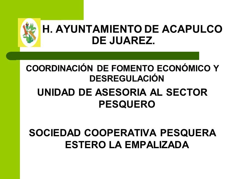 H. AYUNTAMIENTO DE ACAPULCO DE JUAREZ. COORDINACIÓN DE FOMENTO ECONÓMICO Y DESREGULACIÓN UNIDAD DE ASESORIA AL SECTOR PESQUERO SOCIEDAD COOPERATIVA PE