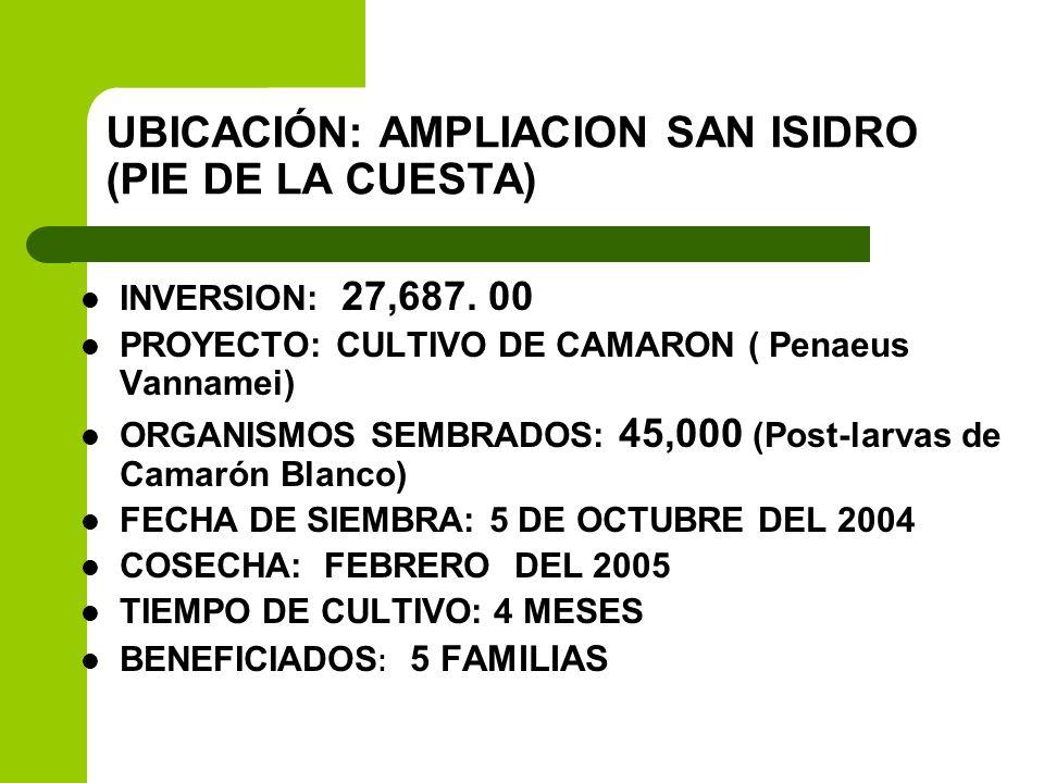 UBICACIÓN: AMPLIACION SAN ISIDRO (PIE DE LA CUESTA) INVERSION: 27,687. 00 PROYECTO: CULTIVO DE CAMARON ( Penaeus Vannamei) ORGANISMOS SEMBRADOS: 45,00