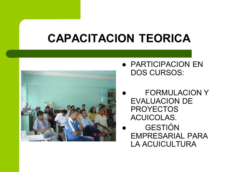 CAPACITACION TEORICA PARTICIPACION EN DOS CURSOS: FORMULACION Y EVALUACION DE PROYECTOS ACUICOLAS. GESTIÓN EMPRESARIAL PARA LA ACUICULTURA