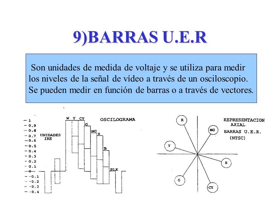 9)BARRAS U.E.R Son unidades de medida de voltaje y se utiliza para medir los niveles de la señal de vídeo a través de un osciloscopio. Se pueden medir