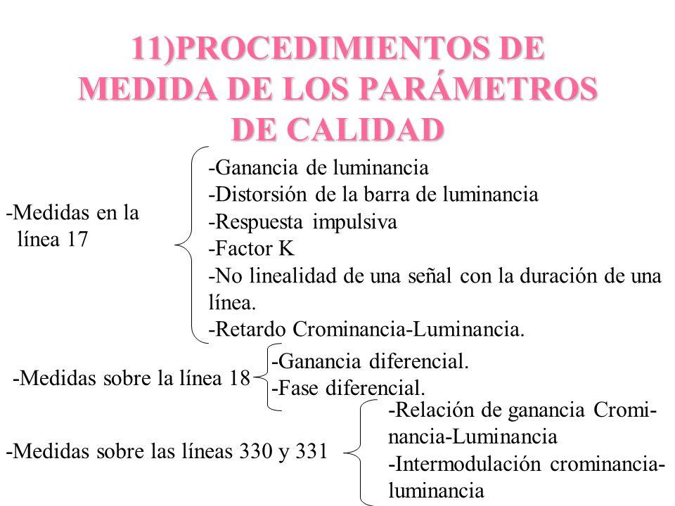 11)PROCEDIMIENTOS DE MEDIDA DE LOS PARÁMETROS DE CALIDAD -Medidas en la línea 17 -Ganancia de luminancia -Distorsión de la barra de luminancia -Respue
