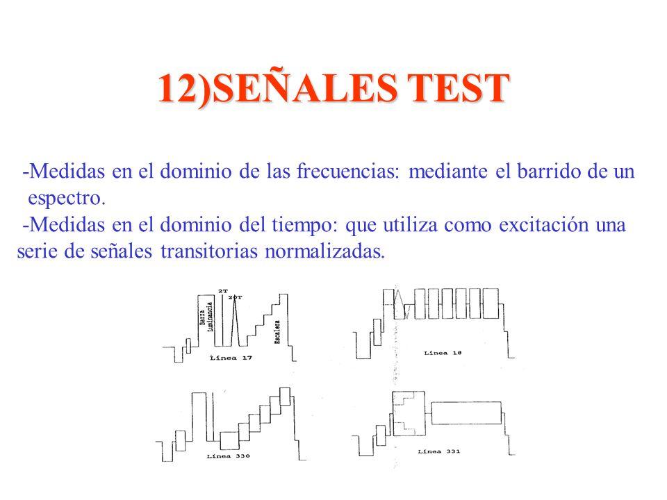 12)SEÑALES TEST -Medidas en el dominio de las frecuencias: mediante el barrido de un espectro. -Medidas en el dominio del tiempo: que utiliza como exc
