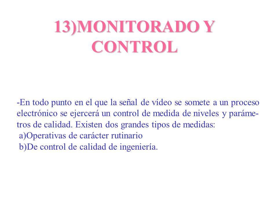 13)MONITORADO Y CONTROL -En todo punto en el que la señal de vídeo se somete a un proceso electrónico se ejercerá un control de medida de niveles y pa