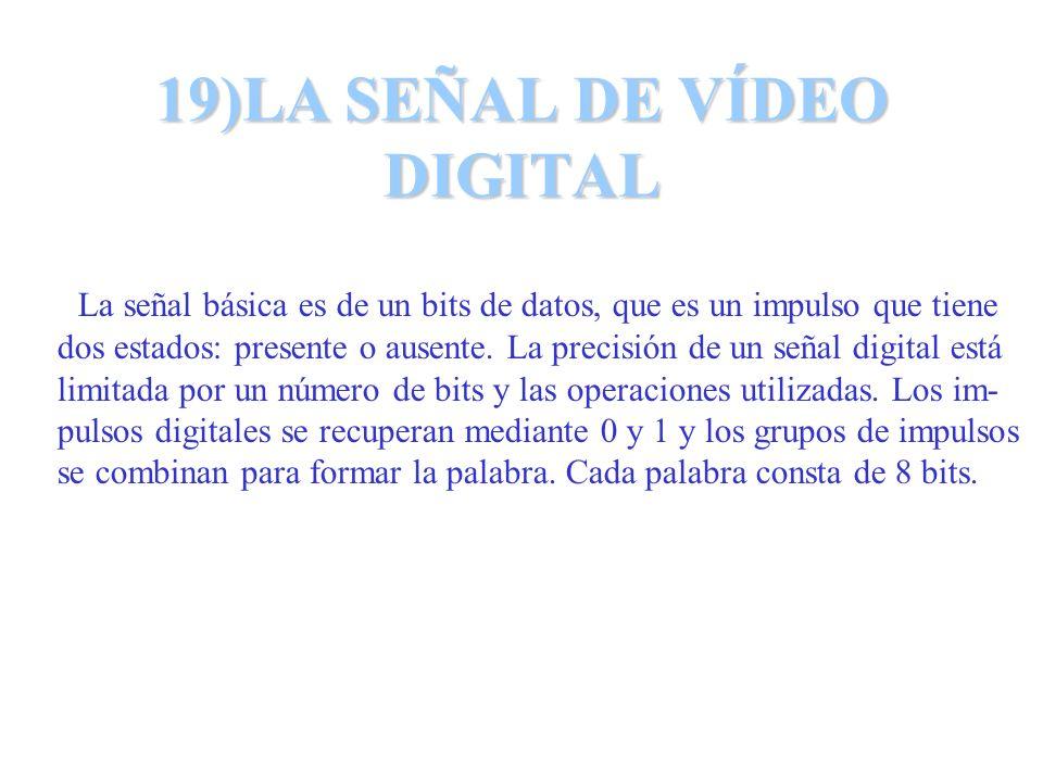 19)LA SEÑAL DE VÍDEO DIGITAL La señal básica es de un bits de datos, que es un impulso que tiene dos estados: presente o ausente. La precisión de un s
