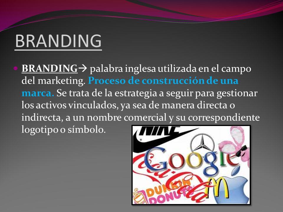 BRANDING BRANDING palabra inglesa utilizada en el campo del marketing. Proceso de construcción de una marca. Se trata de la estrategia a seguir para g