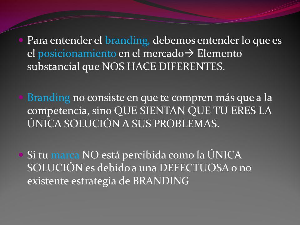 Para entender el branding, debemos entender lo que es el posicionamiento en el mercado Elemento substancial que NOS HACE DIFERENTES. Branding no consi