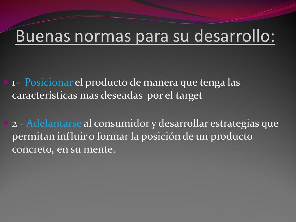 Buenas normas para su desarrollo: 1- Posicionar el producto de manera que tenga las características mas deseadas por el target 2 - Adelantarse al cons