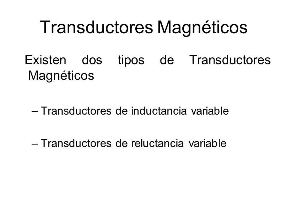 Transductores de inductancia y reluctancia variable Inductancia Variable Núcleo Magnético en un Campo electromagnético Reluctancia Variable Núcleo Magnético en un Campo Magnético