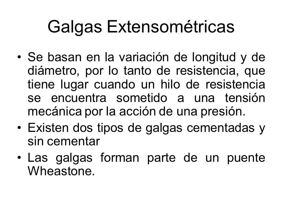 Galgas Extensométricas El intervalo de medida de estas galgas es de 0,6 a 10,000 Kg/ cm 2 Su precisión es del orden de ± 5 %
