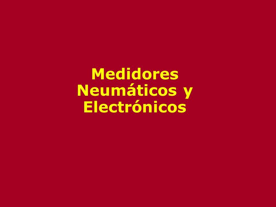 Tipos de Medidores de Presión Neumáticos y Electrónicos Neumáticos –Utilizan elementos mecánicos con desplazamiento de gases Electrónicos –Mecánicos –Medidor McLeod –Térmicos –Ionización