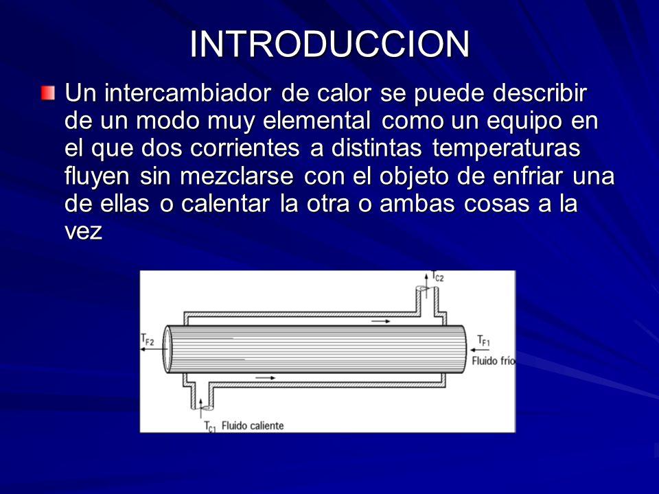 INTRODUCCION Un intercambiador de calor se puede describir de un modo muy elemental como un equipo en el que dos corrientes a distintas temperaturas f