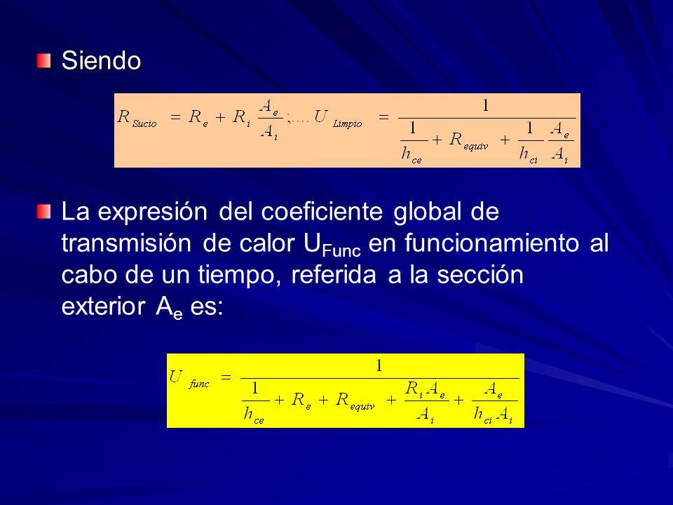 Siendo La expresión del coeficiente global de transmisión de calor U Func en funcionamiento al cabo de un tiempo, referida a la sección exterior A e e