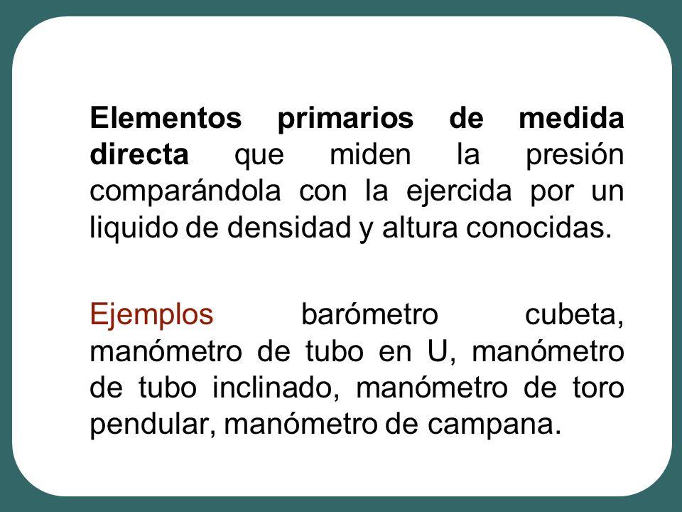 Elementos primarios de medida directa que miden la presión comparándola con la ejercida por un liquido de densidad y altura conocidas. Ejemplos baróme