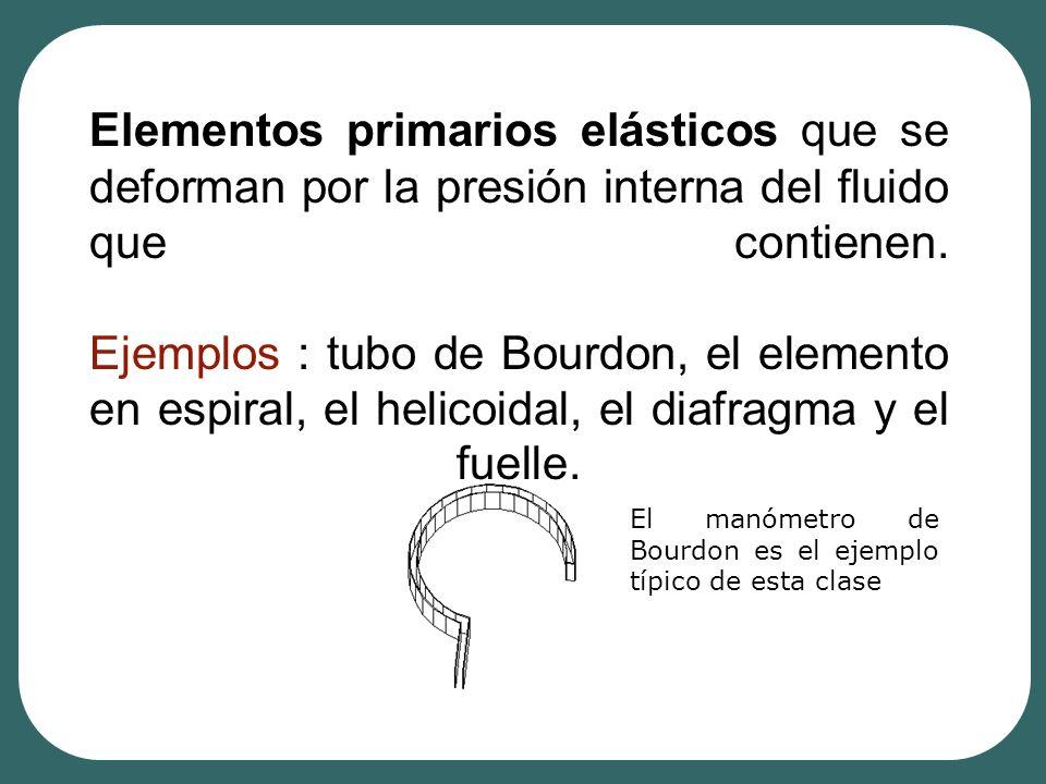 Elementos primarios elásticos que se deforman por la presión interna del fluido que contienen. Ejemplos : tubo de Bourdon, el elemento en espiral, el