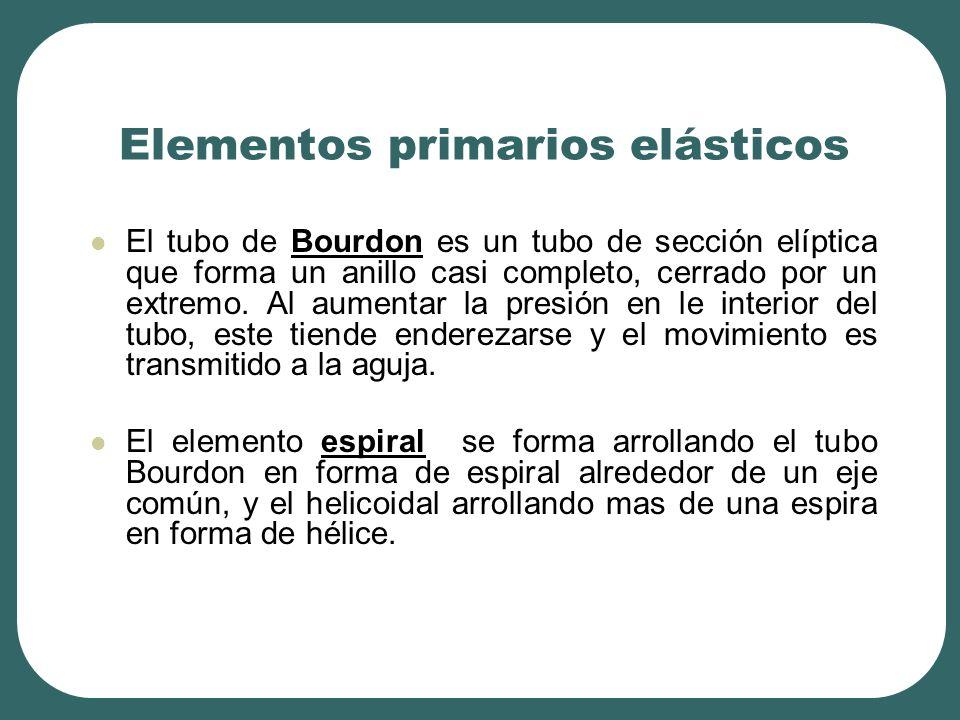 Elementos primarios elásticos El tubo de Bourdon es un tubo de sección elíptica que forma un anillo casi completo, cerrado por un extremo. Al aumentar