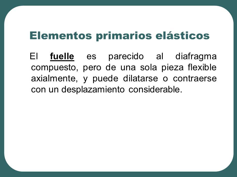 Elementos primarios elásticos El fuelle es parecido al diafragma compuesto, pero de una sola pieza flexible axialmente, y puede dilatarse o contraerse con un desplazamiento considerable.