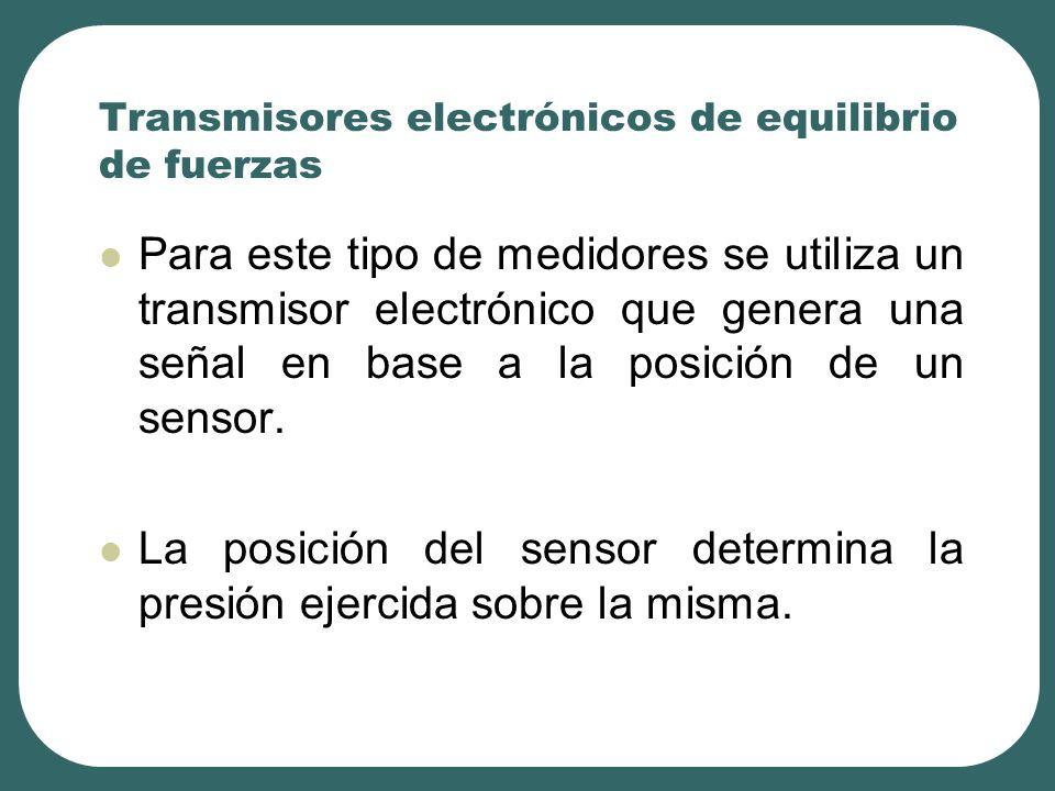 Transmisores electrónicos de equilibrio de fuerzas Para este tipo de medidores se utiliza un transmisor electrónico que genera una señal en base a la posición de un sensor.
