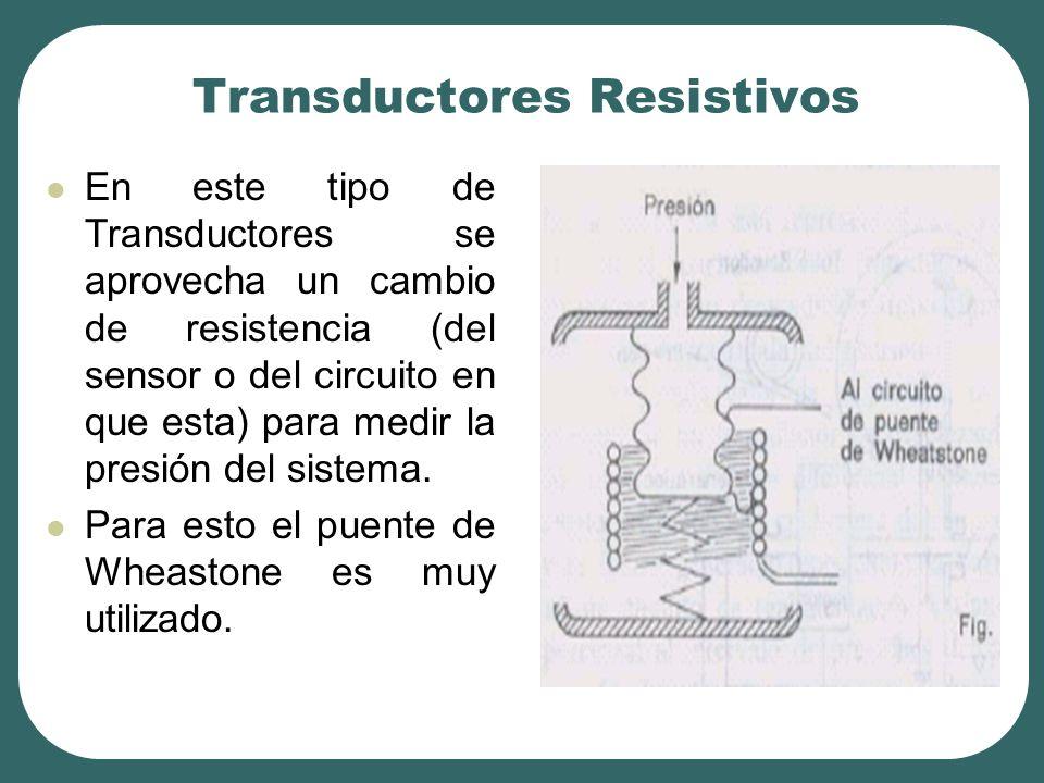 Transductores Resistivos En este tipo de Transductores se aprovecha un cambio de resistencia (del sensor o del circuito en que esta) para medir la presión del sistema.