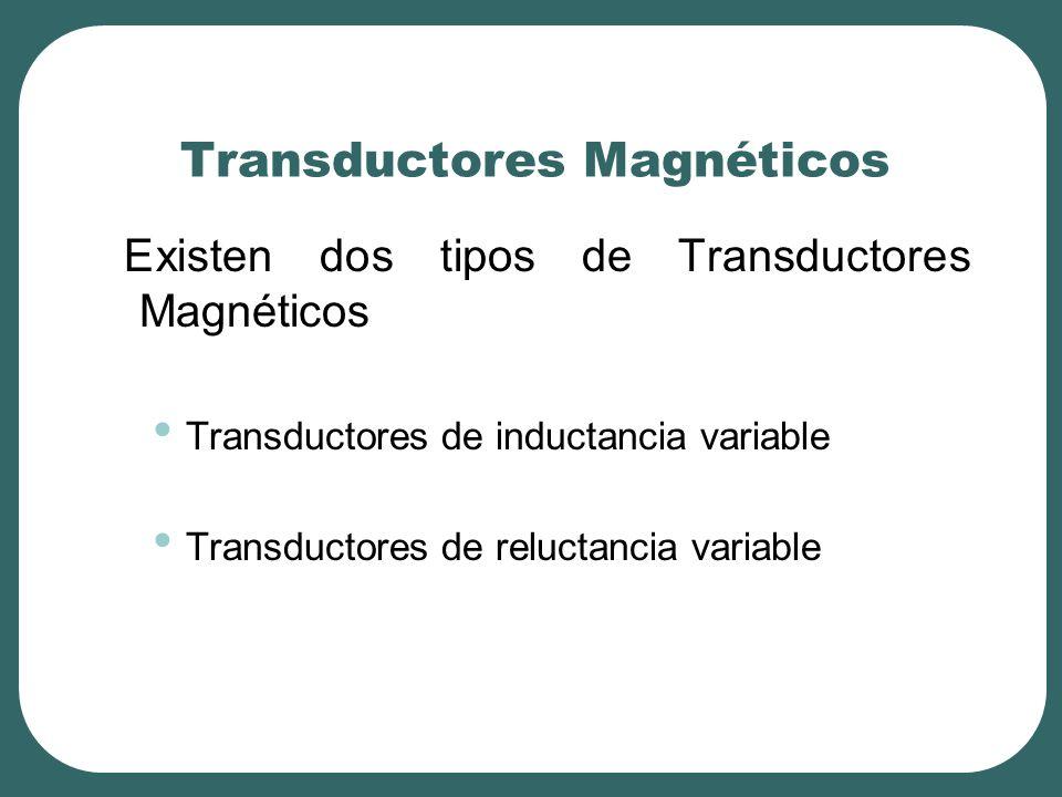 Transductores Magnéticos Existen dos tipos de Transductores Magnéticos Transductores de inductancia variable Transductores de reluctancia variable