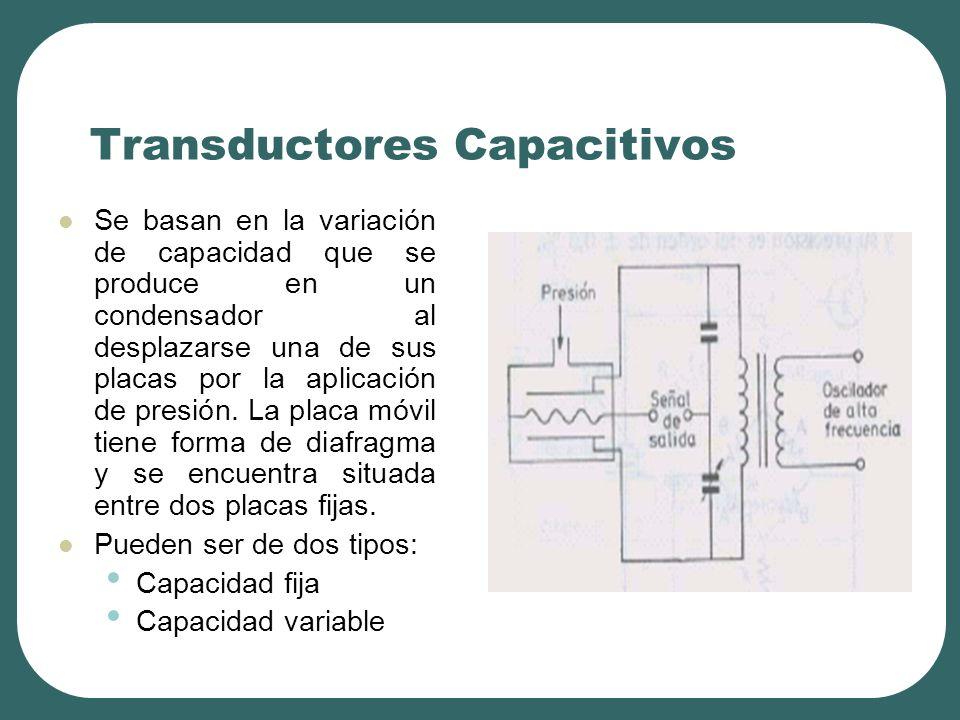 Transductores Capacitivos Se basan en la variación de capacidad que se produce en un condensador al desplazarse una de sus placas por la aplicación de presión.