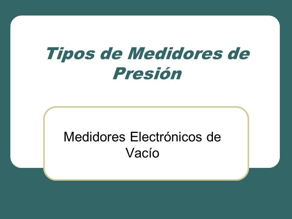 Tipos de Medidores de Presión Medidores Electrónicos de Vacío