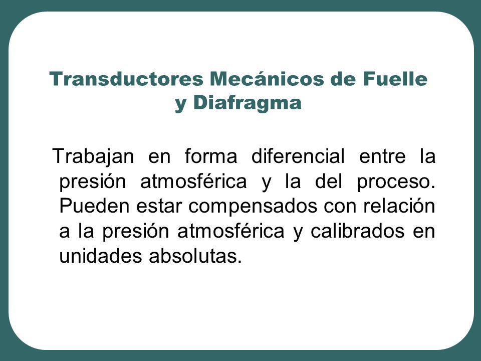 Transductores Mecánicos de Fuelle y Diafragma Trabajan en forma diferencial entre la presión atmosférica y la del proceso. Pueden estar compensados co
