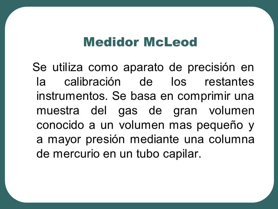 Medidor McLeod Se utiliza como aparato de precisión en la calibración de los restantes instrumentos. Se basa en comprimir una muestra del gas de gran