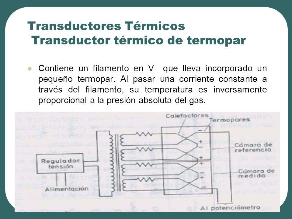 Transductores Térmicos Transductor térmico de termopar Contiene un filamento en V que lleva incorporado un pequeño termopar. Al pasar una corriente co