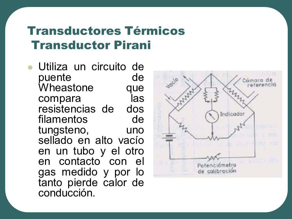 Transductores Térmicos Transductor Pirani Utiliza un circuito de puente de Wheastone que compara las resistencias de dos filamentos de tungsteno, uno sellado en alto vacío en un tubo y el otro en contacto con el gas medido y por lo tanto pierde calor de conducción.