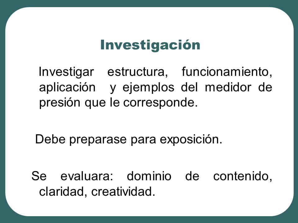 Investigación Investigar estructura, funcionamiento, aplicación y ejemplos del medidor de presión que le corresponde.