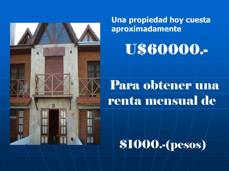 Una propiedad hoy cuesta aproximadamente U$60000.- Para obtener una renta mensual de $1000.-(pesos)