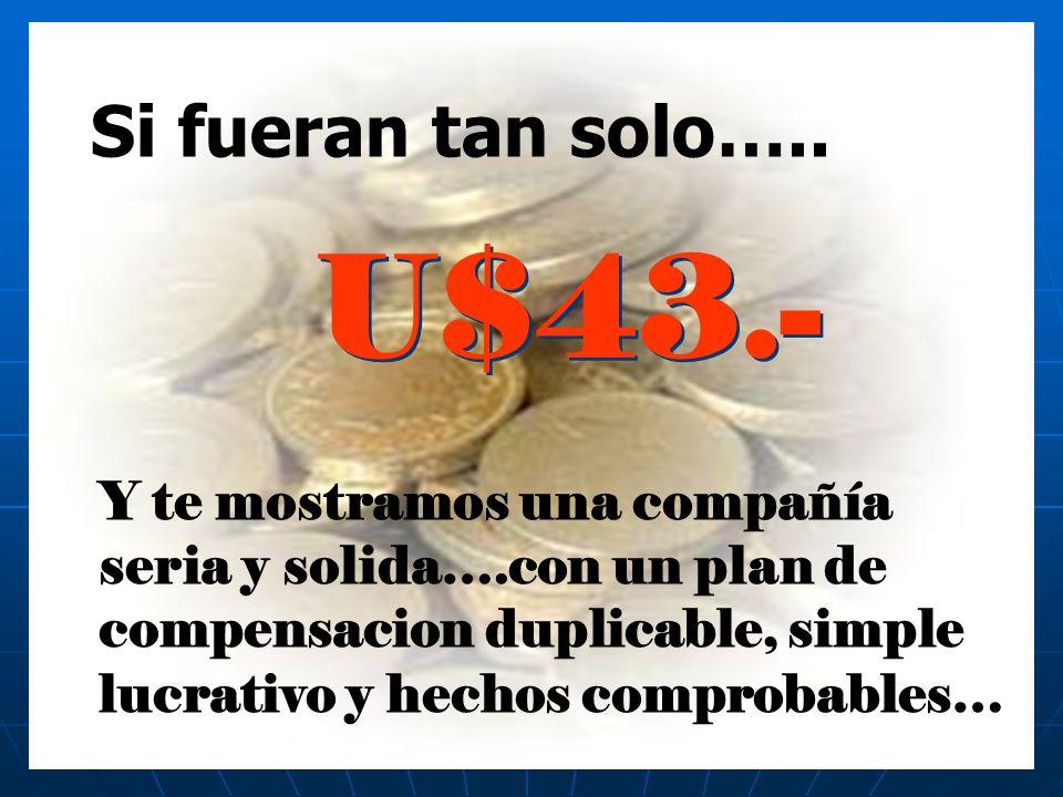 Si fueran tan solo….. U$43.- Y te mostramos una compañía seria y solida….con un plan de compensacion duplicable, simple lucrativo y hechos comprobable