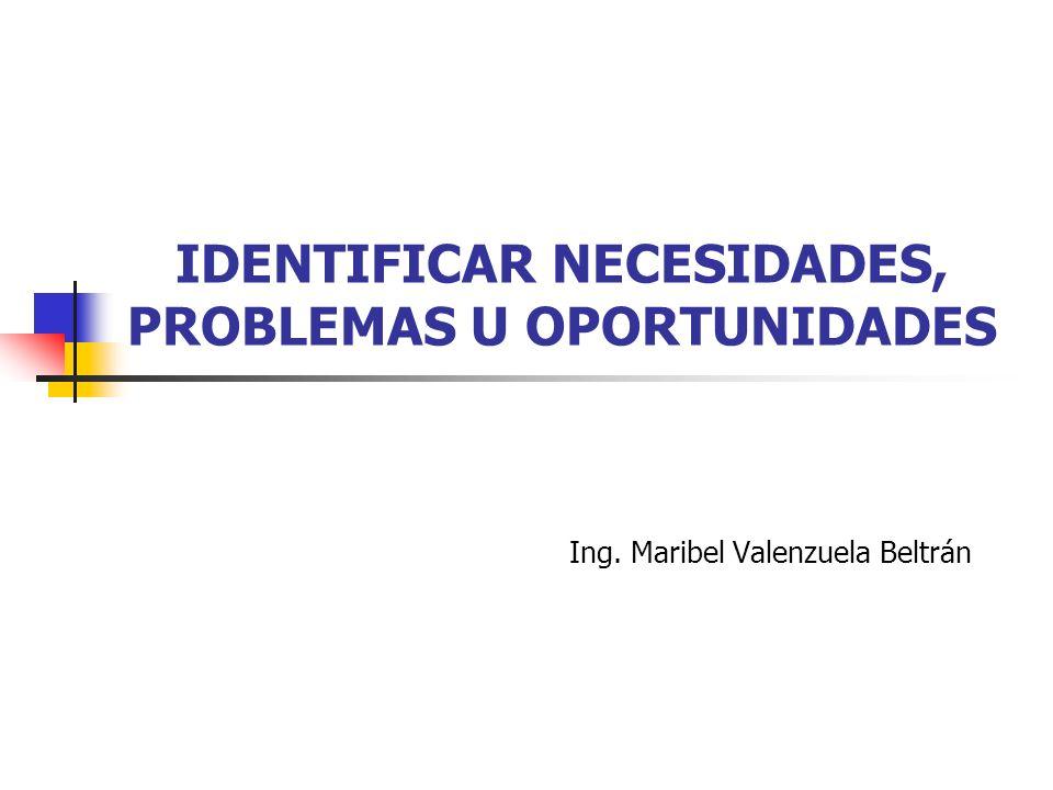 IDENTIFICAR NECESIDADES, PROBLEMAS U OPORTUNIDADES Ing. Maribel Valenzuela Beltrán